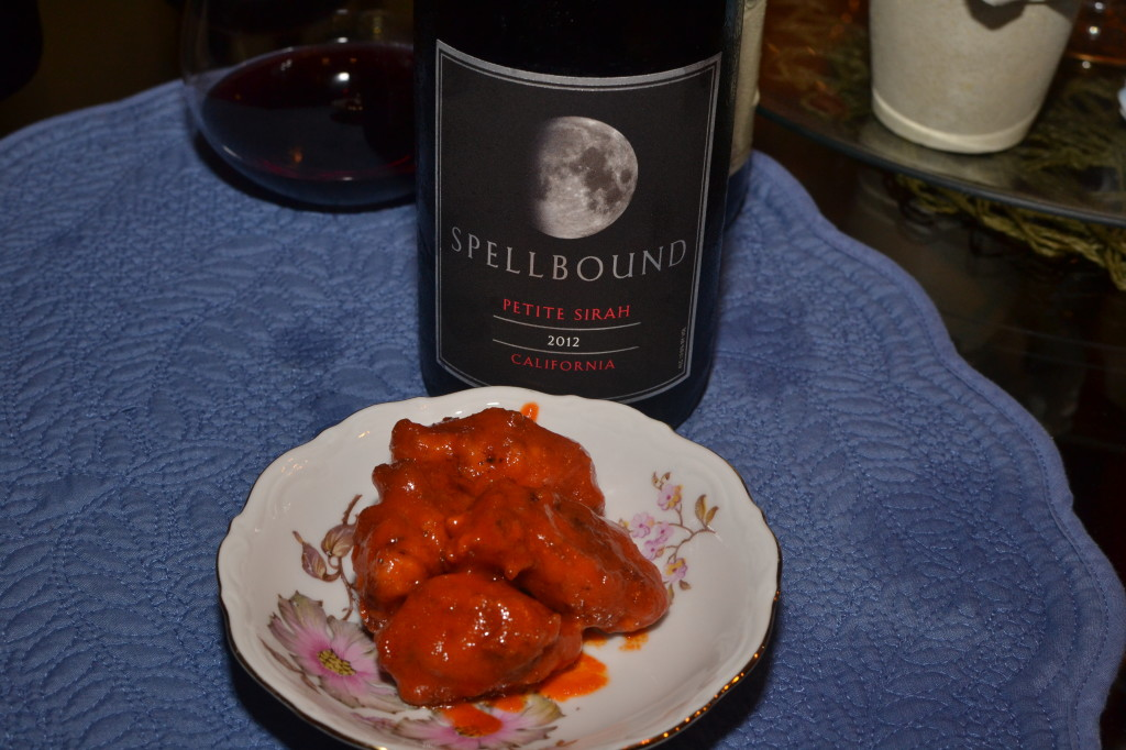 Spellbound 2012 Petite Sirah paired with spicy hot chicken wings