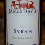 James David 2005 Central Coast Syrah