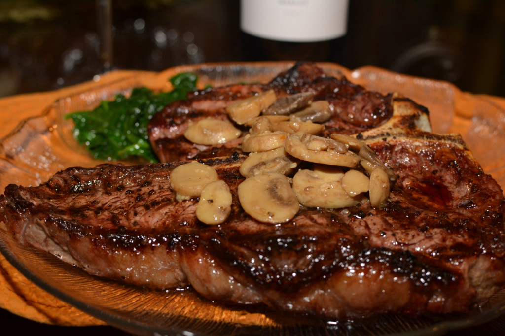 Grilled Porterhouse Steak with Sautéed Mushrooms paired with Merlot