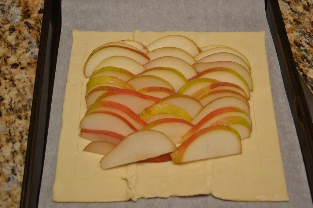 Layer your pears inside the center of the dough