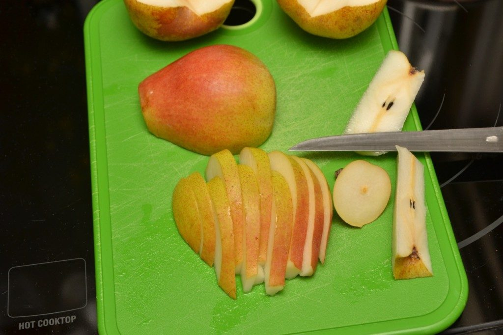 Slice the pears inch wide pieces