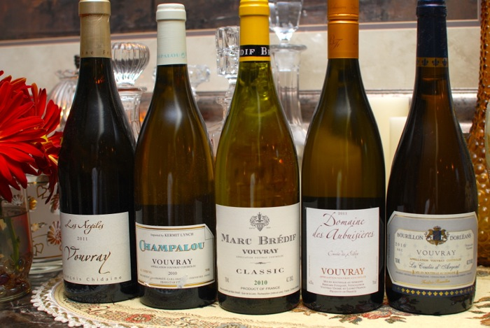 Tasting five Vouvray wines